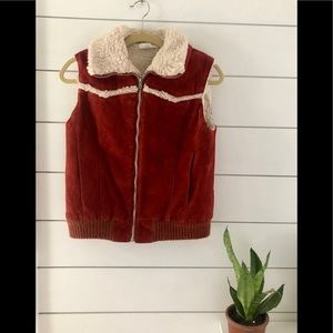 Vintage faux suede and Sherpa vest